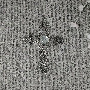 Hanging Metal Cross w/ Heart Curls